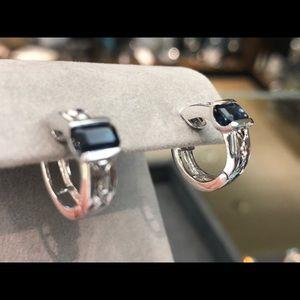 Jewelry - Vintage 14 k white gold sapphire hoop earrings